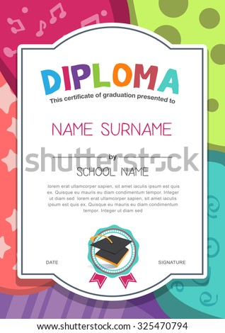 Diploma frame stock images royalty free images vectors kindergarten preschool elementary school kids diploma certificate background design template yadclub