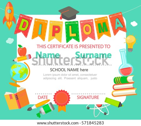 Preschool graduation stock images royalty free images vectors kindergarten preschool elementary school kids diploma certificate background design template vector illustration yadclub