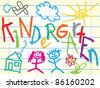 Kindergarten sign with icons - vector illustration - stock vector
