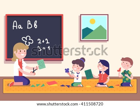 Kindergarten teacher teaching math to her small pupils. Kids learning mathematics. Smiling characters.  Modern flat vector illustration clipart. - stock vector