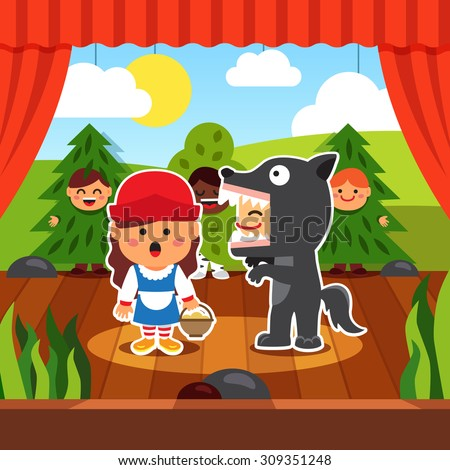 Kindergarten theatre play. Kids staging Little Red Riding Hood in costumes. Wolf and Red Hood on the boards accompanied by boy trees. Flat style cartoon vector illustration with isolated objects. - stock vector