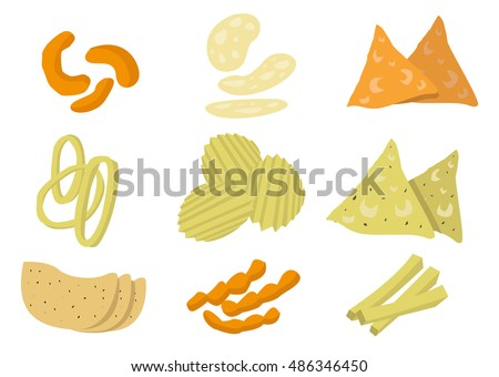 Kinds of Chips or Crisp Junk Food Isolated. Editable Clip Art.
