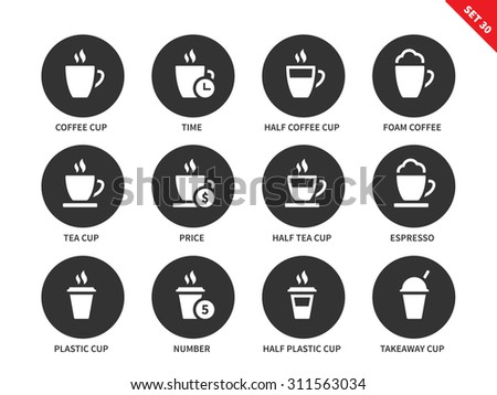 Kinds of coffee vector icons set. Break and relax concept. Items for advertising in shops an cafes, half coffee cup, half coffee cup, tea cup, espresso and plastic cups. Isolated on white background - stock vector