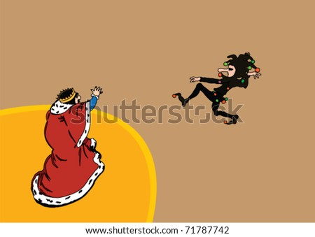 King and court jester - vector - stock vector