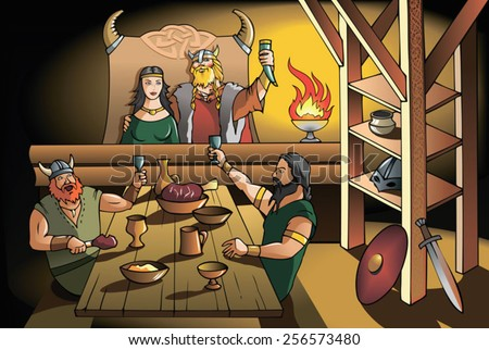 King and Queen of ancient Scandinavia feasting with brave warriors, vector illustration - stock vector