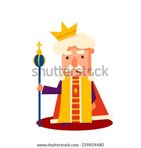King Cartoon character, Emotion Vector Illustration Set - stock vector