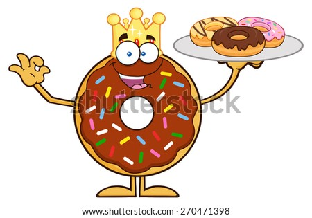 King Chocolate Donut Cartoon Character Serving Donuts. Vector Illustration Isolated On White - stock vector
