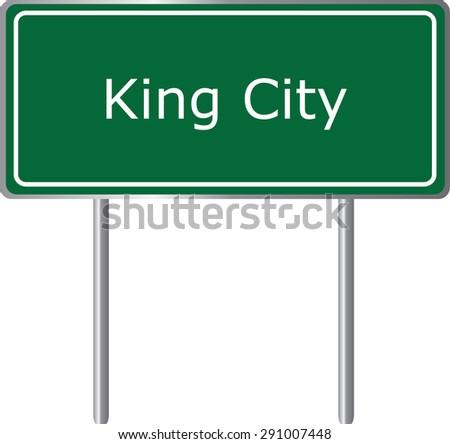 King City , California, road sign green vector illustration, road table, USA city - stock vector