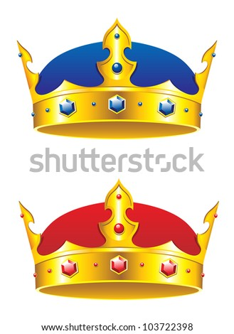 King crown with gems and embellishments isolated on white background, such logo. Jpeg version also available in gallery - stock vector