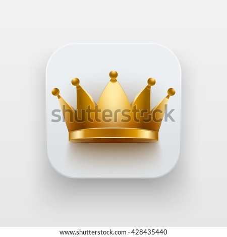 King luxury icon. Luxury Symbol of Crown on light backdrop with shadow. Vector Illustration Isolated on background