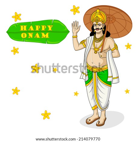King Mahabali for Onam festival, India in vector - stock vector