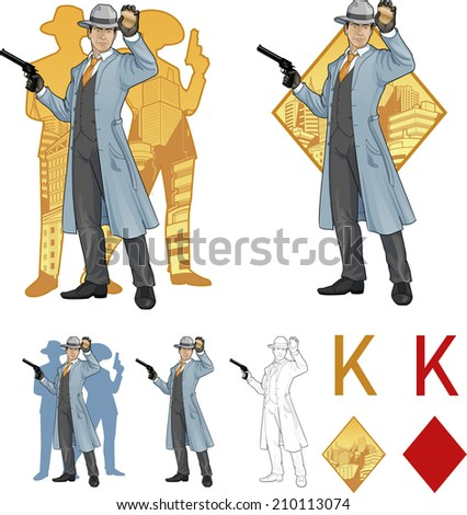 King of diamonds asian police chief shows his badge with a gun and people silhouettes retro styled comics card character set of illustrations with black lineart - stock vector