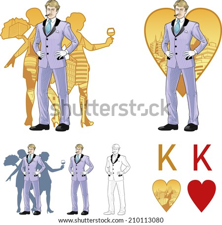 King of hearts attractive Caucasian man in luxury stripped costume with female corps de ballet dancers silhouettes retro styled comics card character set of illustrations with black lineart - stock vector