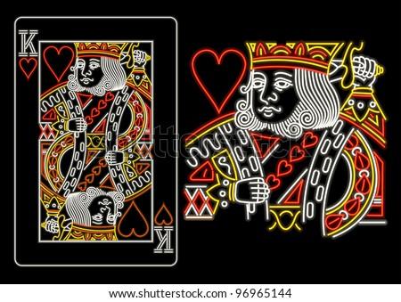 King of Hearts in neon - stock vector