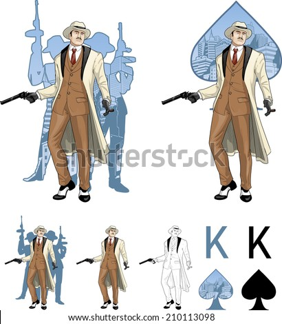 King of spades caucasian mafioso godfather with a gun and armed crew silhouettes retro styled comics card character set of illustrations with black lineart - stock vector