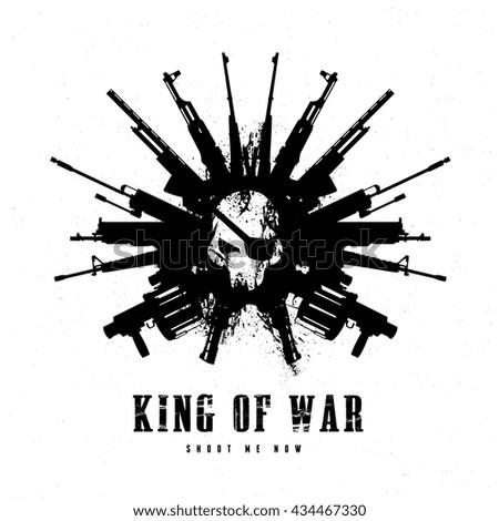 King of war logo,skull and gun, game logo. - stock vector