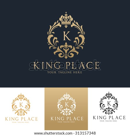 King place,boutique brand,real estate,property,royalty,crown logo,crest logo,Vector Logo Template.