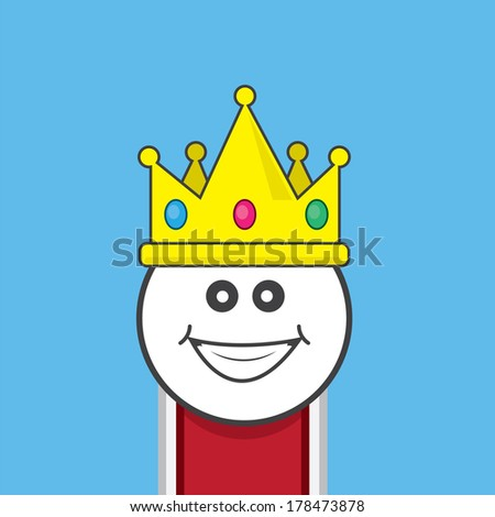 King wearing a large jeweled crown  - stock vector