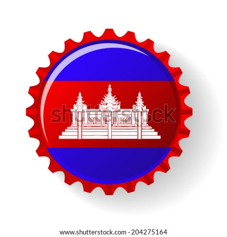 Kingdom of Cambodia on bottle caps - stock vector
