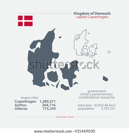 Kingdom of Denmark isolated maps and official flag icon. vector Danish political map icons with general information. EU geographic banner template. travel and business concept map - stock vector