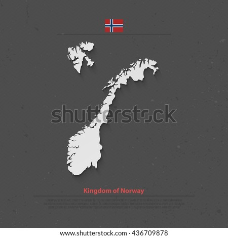 Kingdom of Norway isolated map and official flag icons. vector Norwegian political map 3d illustration. Scandinavian Country geographic banner template. travel and business concept maps