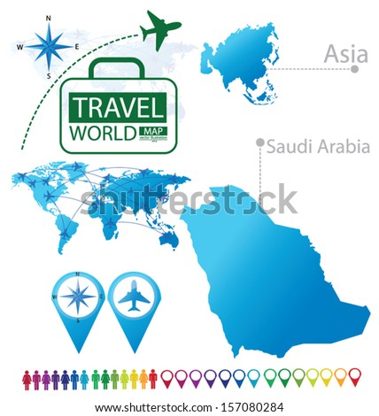 Kingdom of Saudi Arabia. Asia. World Map. Travel vector Illustration. - stock vector