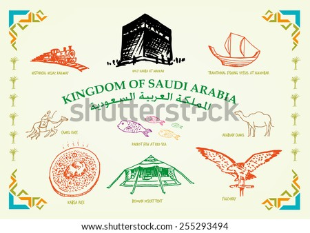 Kingdom of Saudi Arabia Line Art Cultural Icons and Transportations. Country text in Arabic and English versions.  Handdrawn doodle Illustration in vector and jpg with modern islamic frame design.  - stock vector