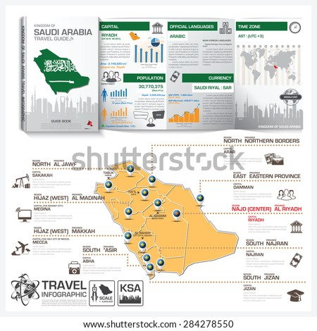 Kingdom Of Saudi Arabia Travel Guide Book Business Info graphic With Map Vector Design Template - stock vector