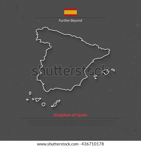 Kingdom of Spain isolated map and official flag icons. vector Spanish political map thin line icon over grunge background. EU geographic banner template. travel and business concept maps - stock vector