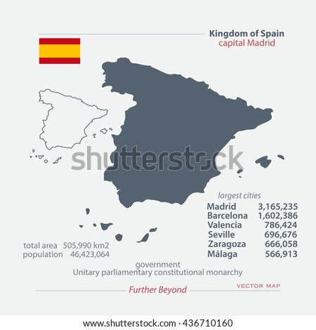 Kingdom of Spain isolated maps and official flag icon. vector Spanish political map icons with general information. EU geographic banner template. travel and business concept map - stock vector