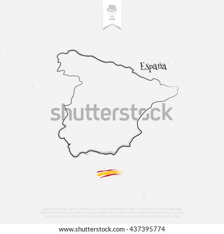 Kingdom of Spain outline map and official colors over paper texture. vector Spanish political map thin line icon on white background. EU geographic banner template. travel and business concept logo - stock vector