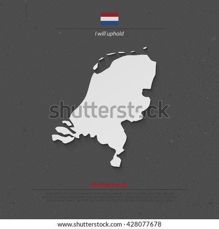 Kingdom of the Netherlands isolated map and official flag icons. vector Dutch political map 3d illustration. EU geographic banner template. travel and business concept maps - stock vector