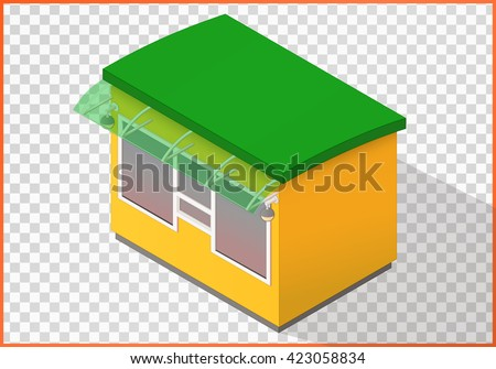 Kiosk flat vector 3d illustration. Counter isometric perspective view. - stock vector