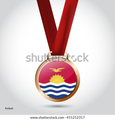 Kiribati Flag in Bronze Medal. Vector Illustration. RIO Olympic Game Bronze Medal. Vector Illustration