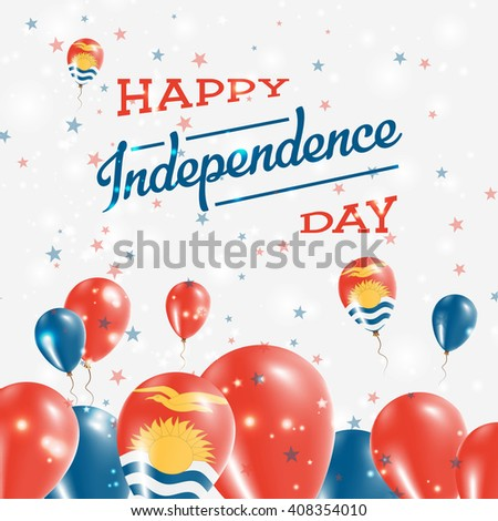 Kiribati Independence Day Patriotic Design. Balloons in I-Kiribati National Colors. Happy Independence Day Kiribati Vector Greeting Card.