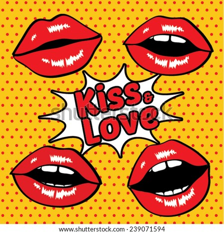 Kiss & love Pop Art Sexy wet red lips vector illustration.   - stock vector