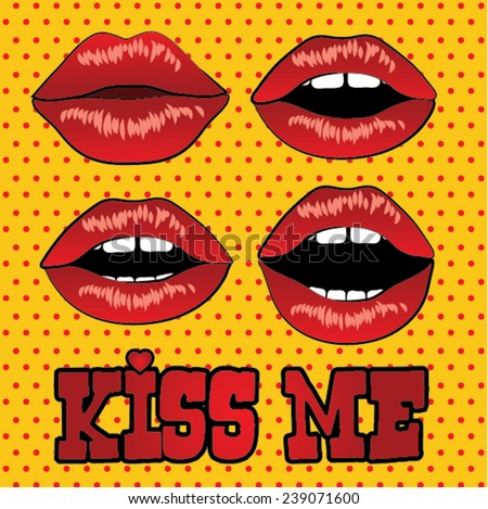 Kiss Me Pop Art Sexy wet red lips vector illustration.   - stock vector