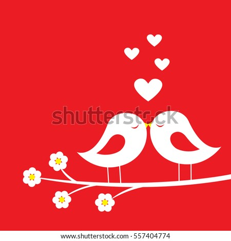 Kiss of birds - romantic card for Valentine's day. Vector illustration