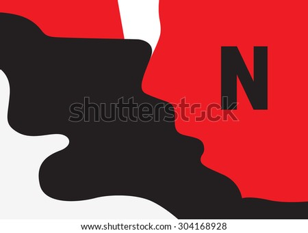 Kiss of two people - abstract illustration - stock vector