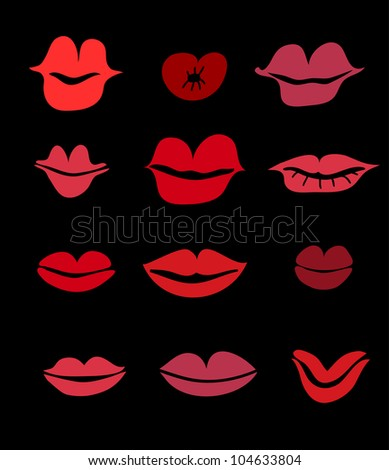 kiss set - stock vector