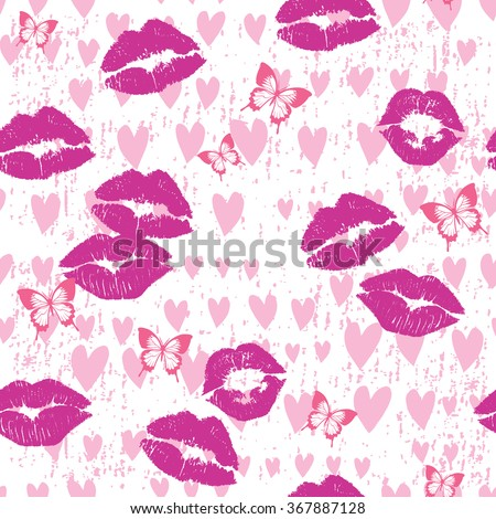 Kisses & Love Seamless Repeat Background - stock vector