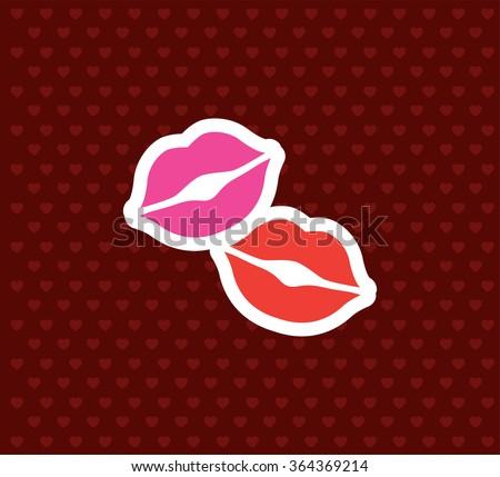 Kisses. Valentine`s Day Icon. Love Vector Illustration - stock vector