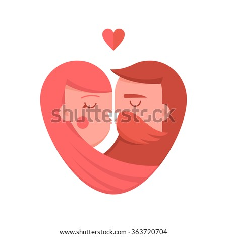 Kissing couple flat illustration. Man and woman logo in the shape of a heart. Valentine's day, psychology of family relations, wedding label and icon element.  - stock vector