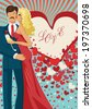 """Kissing couple man and woman in red dress on  hearts  background. Inscription """"Love"""".Greeting card , template for holiday ,engagement.Vector illustration  - stock vector"""