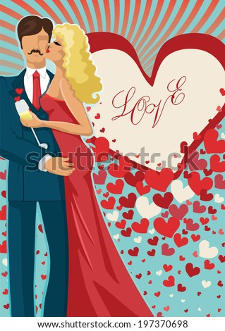 "Kissing couple man and woman in red dress on  hearts  background. Inscription ""Love"".Greeting card , template for holiday ,engagement.Vector illustration"