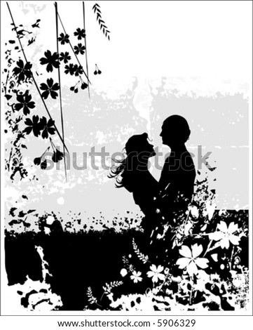 kissing couple with flowers, vector illustration - stock vector