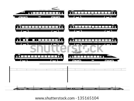 Kit contains: 1st and 2nd class motor unit, 1st and 2nd class coach car, one 1st/2nd clas coach car, one dining car, railroad track, overhead catenary and plan to build. - stock vector