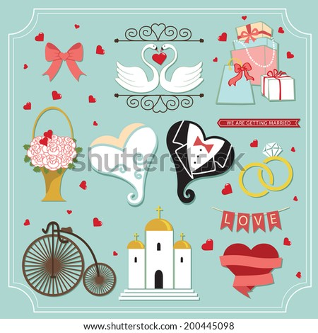 Kit for wedding invitation,design template. Vintage design elements, icons in Vector - stock vector
