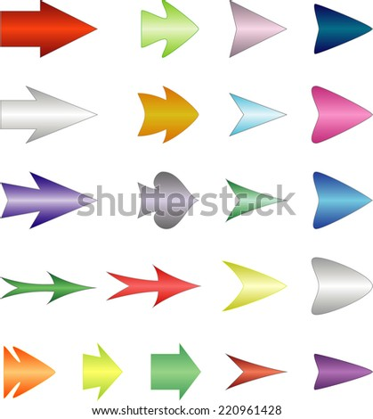 Kit isolated colored symmetric arrows over white - stock vector