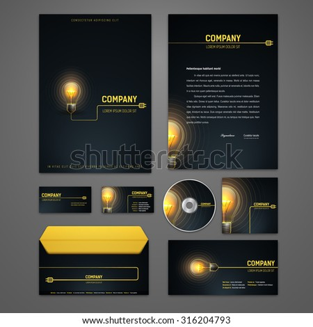 Kit electric identity solutions corporate business stock vector kit of electric identity solutions for corporate or business which includes cd cover business card colourmoves